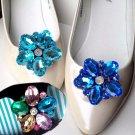 A Pair Blue Cyan Color Flower Rhinestone Crystal Wedding Bridal Shoe Clips