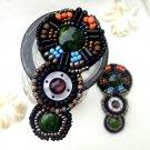 Vintage Beaded Beads Black Sandals Shoe Applique Pair -CA