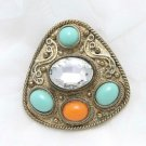 Vintage Ethnic Style Color Acrylic Stone Old Gold Triangle Brooch Pin