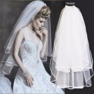 White / Off White 2 Tiers Wedding Bridal Organza Short Veil with Comb