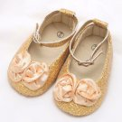 Cute Infant Newborn 6-12 months Baby Girl Gold Flower Sparkling Squeak Shoes