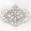 BRIDAL WEDDING RHINESTONE CRYSTAL ACRYLIC RHOMBUS VINTAGE STYLE BROOCH PIN PINS
