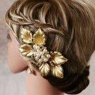Wedding Bridal Gold Faux Pearl Leaf Crystal Headpiece Hair Clip Accessories