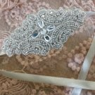 Off White Ribbon Rhinestone Crystal Wedding Handmade Applique Hair Headband -CA