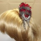Red Peacock Feather Wedding Silver Rhinestone Crystal Flower Girl Hair Clip - CA
