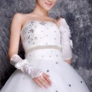 White/ Ivory Wedding Bridal Bride Lace Fuax Pearl Bow Fingerless Gloves