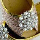Pair Of Faux Pearl Rhinestone Metal Wedding Bridal High-Heel Shoe Clips -CA