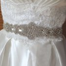 Bridal Wedding Rhinestone Crystal Applique White/Ivory Ribbon Satin Sash Belt