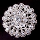 Vintage Rhinestone Crystal Peacock Round Flower Bouquet Bridal Wedding Brooch