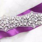 Sew/Iron Beaded Silver Rhinestone Crystal Wedding Belt Applique Sash Long Trim