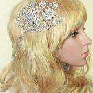 Victorian Bridal Wedding Silver Tone Hair Chain Rhinestone Crystal Comb - CA
