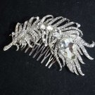 LOT OF 4 FEATHER BRIDAL WEDDING BRIDES SILVER CLEAR RHINESTONE CRYSTAL HAIR COMB