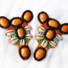Vintage Beaded Shell Beads Orange Sandals Shoe Applique Pair -CA