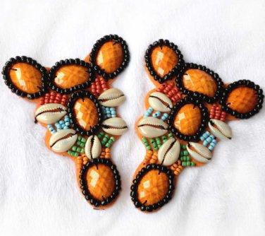 Vintage Beaded Shell Beads Orange Sandals Shoe Applique Pair -CA