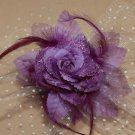 Purple Peacock Feather Wedding Flower Girl Bride Veil Hair Clip Accessories - CA