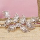 Feather Leaf Rhinestone Crystal Wedding Bridal Silver Hair Alligator Clip