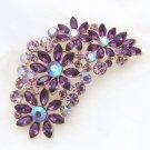Flower Purple Rhinestone Crystal Golden Gold Brooch Pin Wedding Jewelry