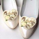 Wedding Acrylic Crystal Cream Heart Flower Bridal Shoe Sandals Clips Pair