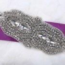 Bridal Wedding Ribbon Belt Marquise Rhinestone Crystal Beaded Sew on Applique