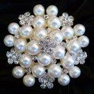 Cream Bouquet Freshwater Pearl Rhinestone Crystal Wedding Bridal Brooch Pin