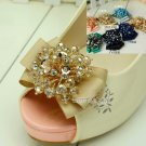 Beaded Crystals Color Bow Wedding Bridal High Heel Sandals Shoe Clips Pair