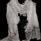 Sexy Handmade Grey Embroidery Lace Floral Lace Scarf Shawl Wrap