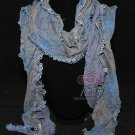 Sexy Handmade Blue Embroidery Lace Floral Lace Scarf Shawl Wrap