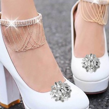 Vintage Style Rhinestone Crystal Silver Shoe Clips Detach Decoration Pairs - CA