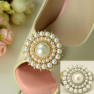 Silver/Gold Round Vintage Style Faux Pearl Wedding Bridal Shoe Clips Pair -CA