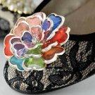 Cute Color Plastic Silver Tone Wedding Flower Shoe Clips Pair