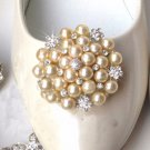 Ivory Pearl Silver Tone Rhinestone Crystal Wedding Bridal Shoe Clips Pair