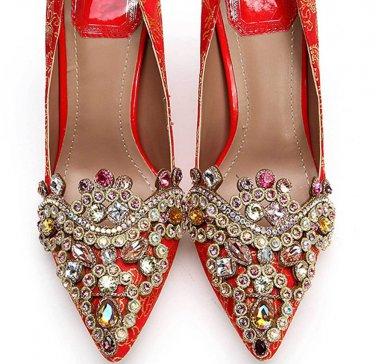 Vintage Color Stone Gold Tone Ethinic Shoe Applique Matching Pair