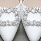 Vintage Glass Crystal Silver Wedding Bridal Shoe Clips Detach Decoration Pair