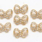 Mix Of 7 Gold Bow Butterfly Metal Rhinestone Crystal Craft Shank Buttons DIY