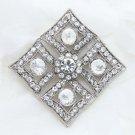 Vintage Style Bridal Wedding Sqaure Rhombus Cake Rhinestone Crystal Brooch Pin