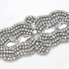 Bridal Wedding Belt Marquise Rhinestone Crystal Beaded Sew Iron on Applique