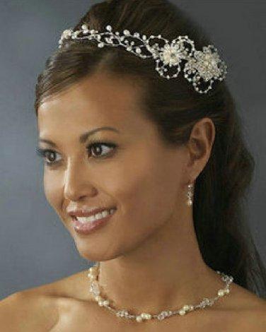 Wedding Bridal Rhinestone Crystal Faux Pearl Ring Crown Circlet Headband Tiara
