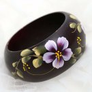 Handmade South East Asia Ethic Rose Flower Wood Wooden Ring Bracelet Bangle