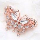 Rose Gold Butterfly Rhinestone Crystal Wedding Bridal Hair Alligator Clip