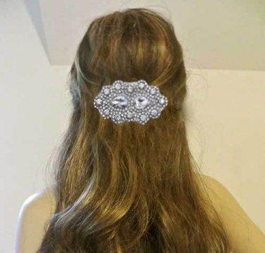 Beaded Glass Rhinestone Crystal Wedding Hair Applique Barrette Clip