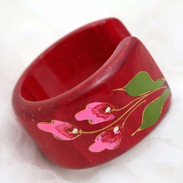 Handmade South East Asia Ethic Flower Red Wood Wooden Ring Bracelet Bangle
