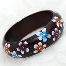 Handmade South East Asia Ethic Flower Flower Wood Wooden Ring Bracelet Bangle