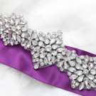 Luxurious Elegant Beaded Rhinestone Crystal Bridal Sash Wedding Belt Applique