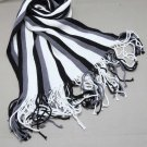 Men Boys Viscose Plain Stripe Black Or White Or Color Soft Long Scarf