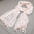 PALE PINK ELEGANT EMBROIDERY BUTTERFLY FLORAL LACE WRAP SHAWL STOLE SCARF