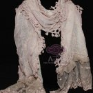 Sexy Handmade Pink Embroidery Lace Floral Lace Scarf Shawl Wrap