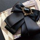 Vintage Mens Black Pre Tired Self Bow Tie Adjustable Ribbon Brooch Pin Bowtie