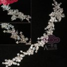 "Long Flowers Leaves Rhinestone Crystal Wedding Bridal Chain 9"" Long"
