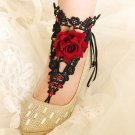 A Pair Gothic Beach Wedding Black Lace Barefoot Footless Sandals Ankle Jewelry