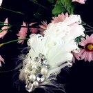 2 pcs Sparkling Pearl Wedding Bridal White Feather Fur Shoe Clips Charm Pair